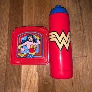 Wonder Woman Lunch Sandwich & Water Bottle New